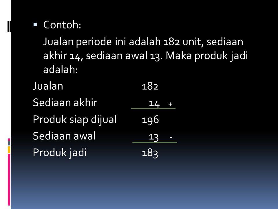 Contoh: Jualan periode ini adalah 182 unit, sediaan akhir 14, sediaan awal 13. Maka produk jadi adalah: