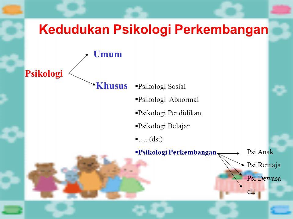 Kedudukan Psikologi Perkembangan