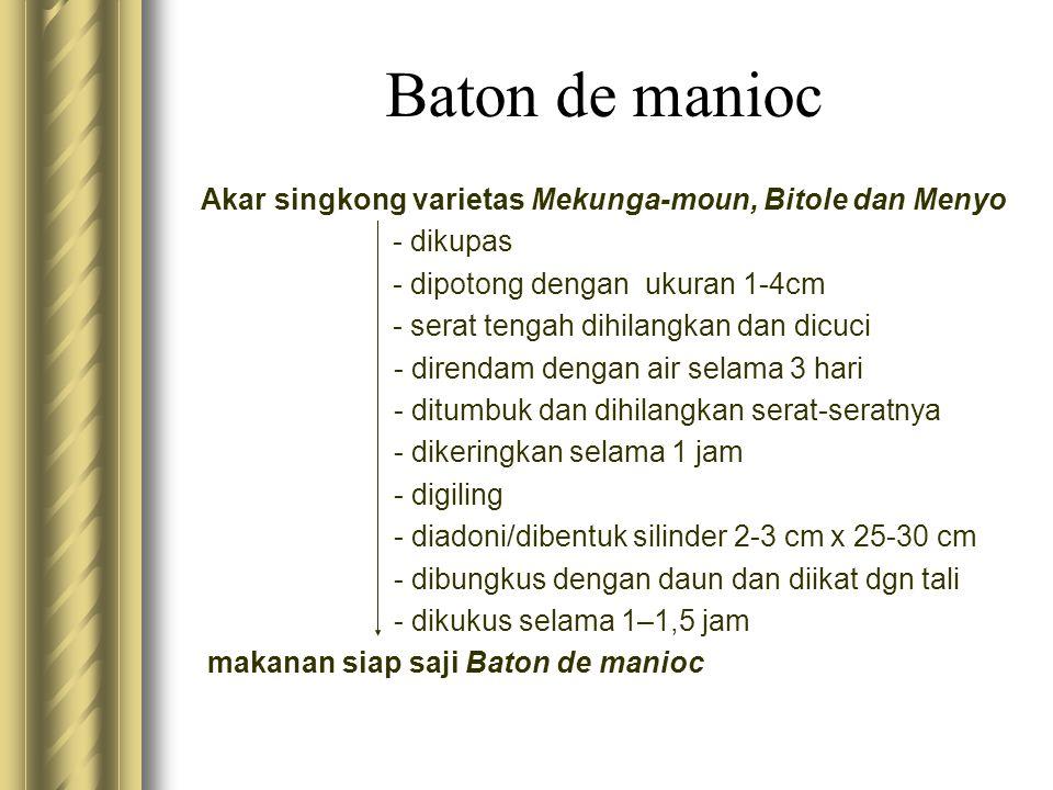 Akar singkong varietas Mekunga-moun, Bitole dan Menyo