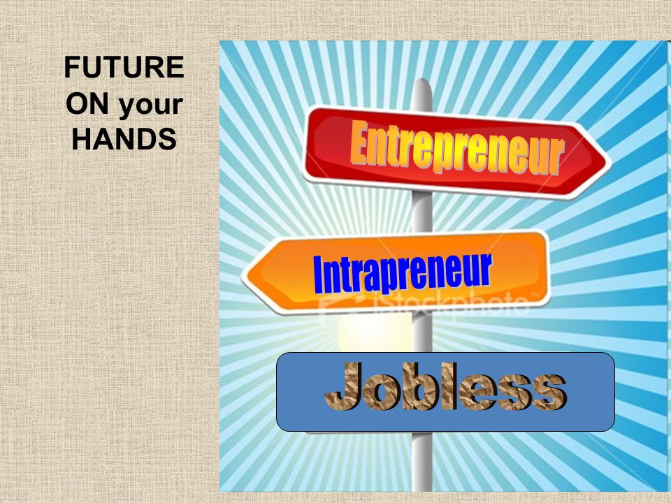 FUTURE ON your HANDS Entrepreneur Intrapreneur Jobless