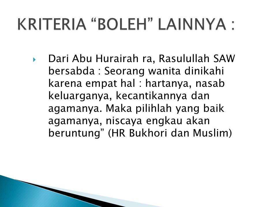 KRITERIA BOLEH LAINNYA :