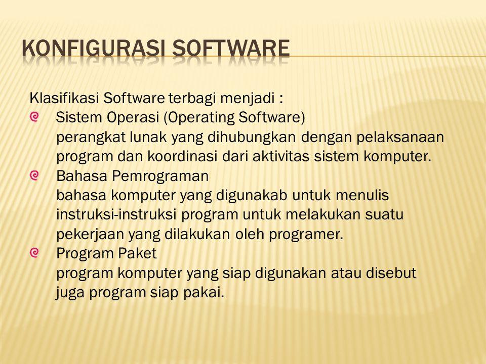 Konfigurasi software Klasifikasi Software terbagi menjadi :