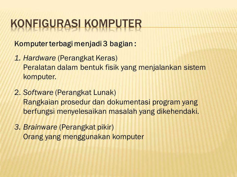 Konfigurasi Komputer Komputer terbagi menjadi 3 bagian :