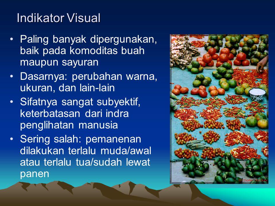 Indikator Visual Paling banyak dipergunakan, baik pada komoditas buah maupun sayuran. Dasarnya: perubahan warna, ukuran, dan lain-lain.