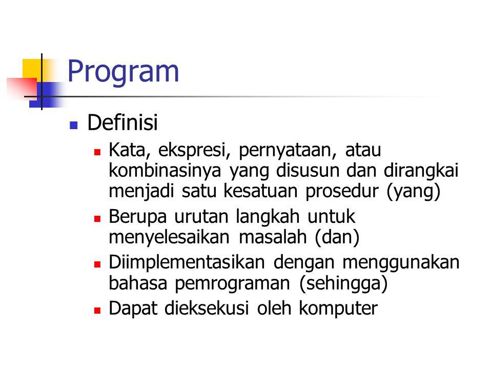 Program Definisi. Kata, ekspresi, pernyataan, atau kombinasinya yang disusun dan dirangkai menjadi satu kesatuan prosedur (yang)