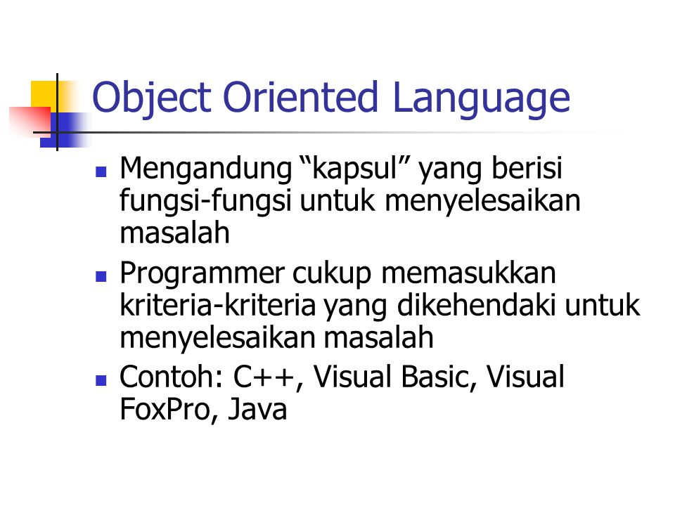 Object Oriented Language