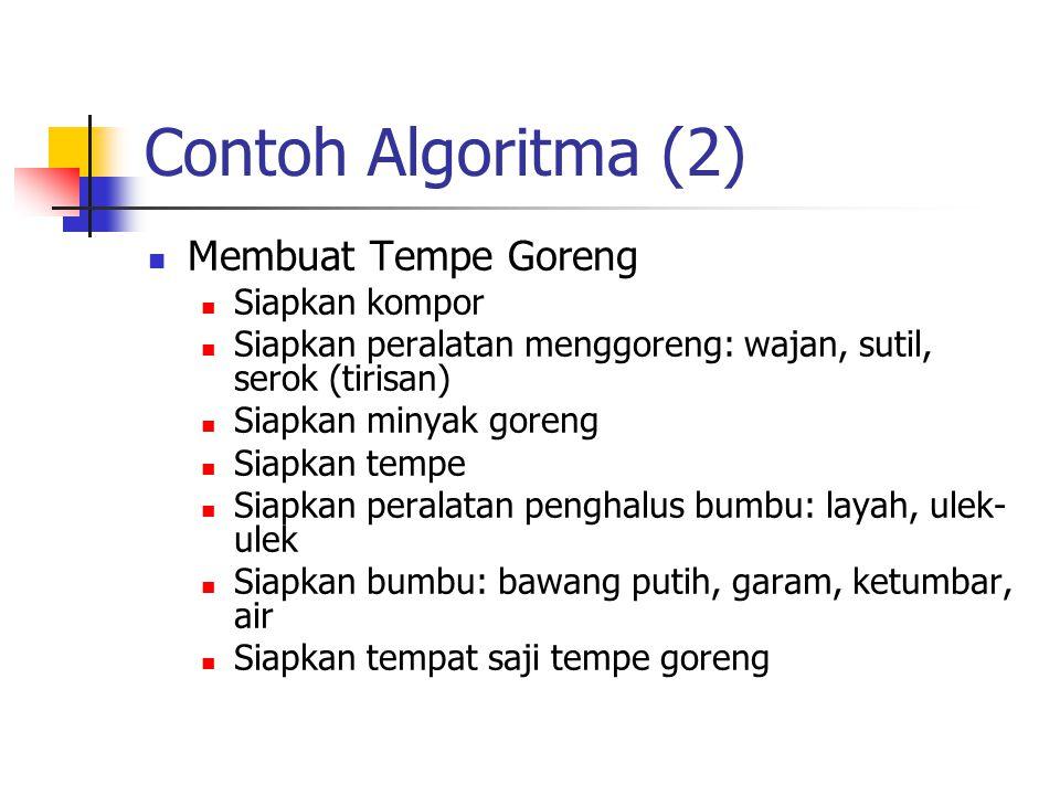 Contoh Algoritma (2) Membuat Tempe Goreng Siapkan kompor