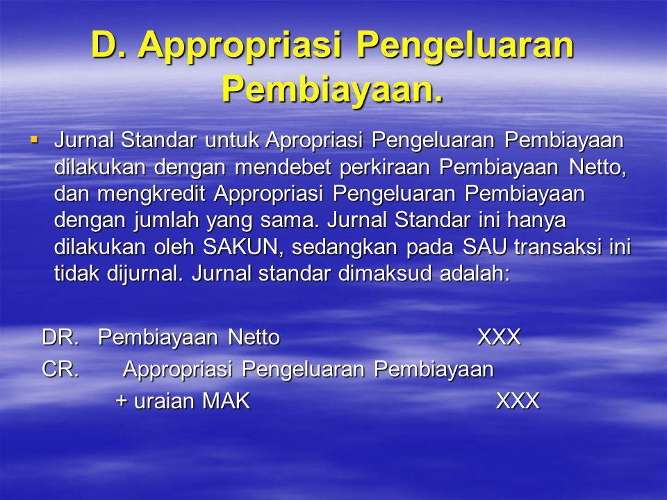 D. Appropriasi Pengeluaran Pembiayaan.