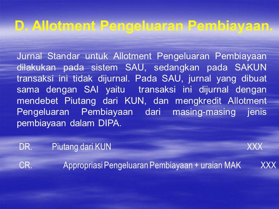 D. Allotment Pengeluaran Pembiayaan.
