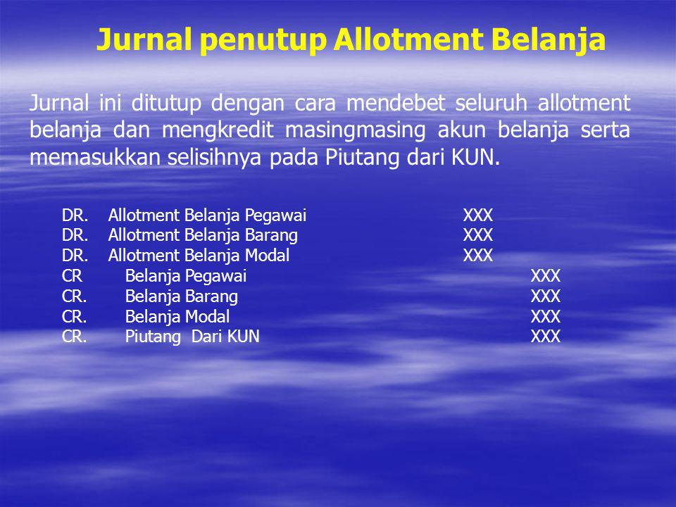 Jurnal penutup Allotment Belanja