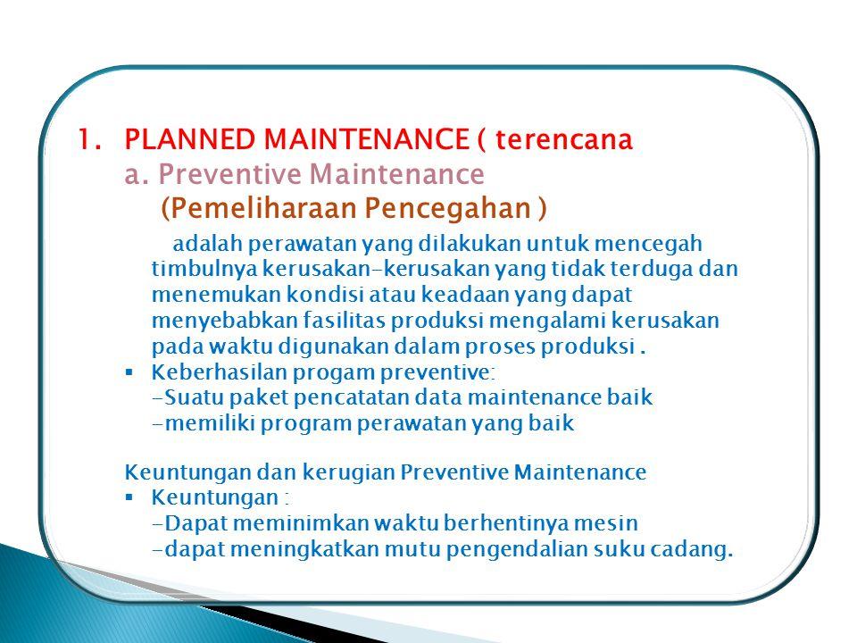 PLANNED MAINTENANCE ( terencana ) a. Preventive Maintenance