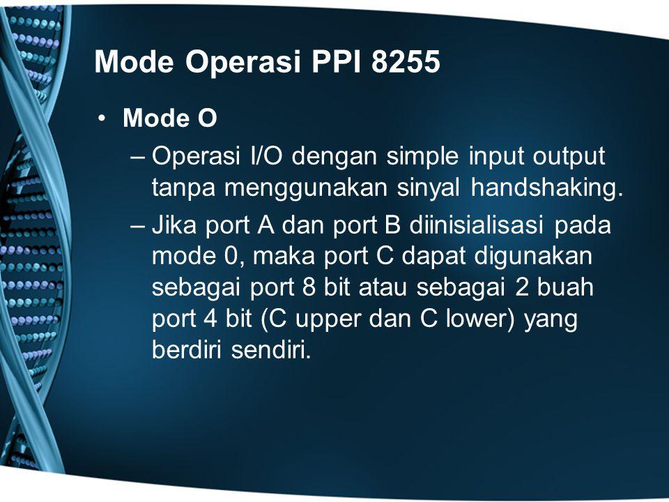 Mode Operasi PPI 8255 Mode O. Operasi I/O dengan simple input output tanpa menggunakan sinyal handshaking.