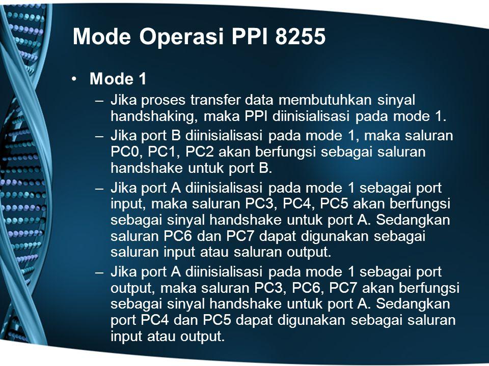 Mode Operasi PPI 8255 Mode 1. Jika proses transfer data membutuhkan sinyal handshaking, maka PPI diinisialisasi pada mode 1.