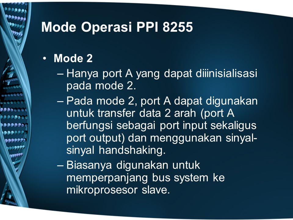Mode Operasi PPI 8255 Mode 2. Hanya port A yang dapat diiinisialisasi pada mode 2.