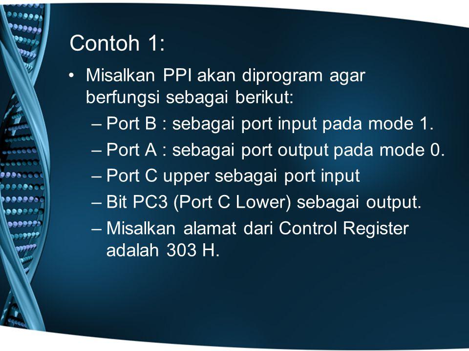 Contoh 1: Misalkan PPI akan diprogram agar berfungsi sebagai berikut: