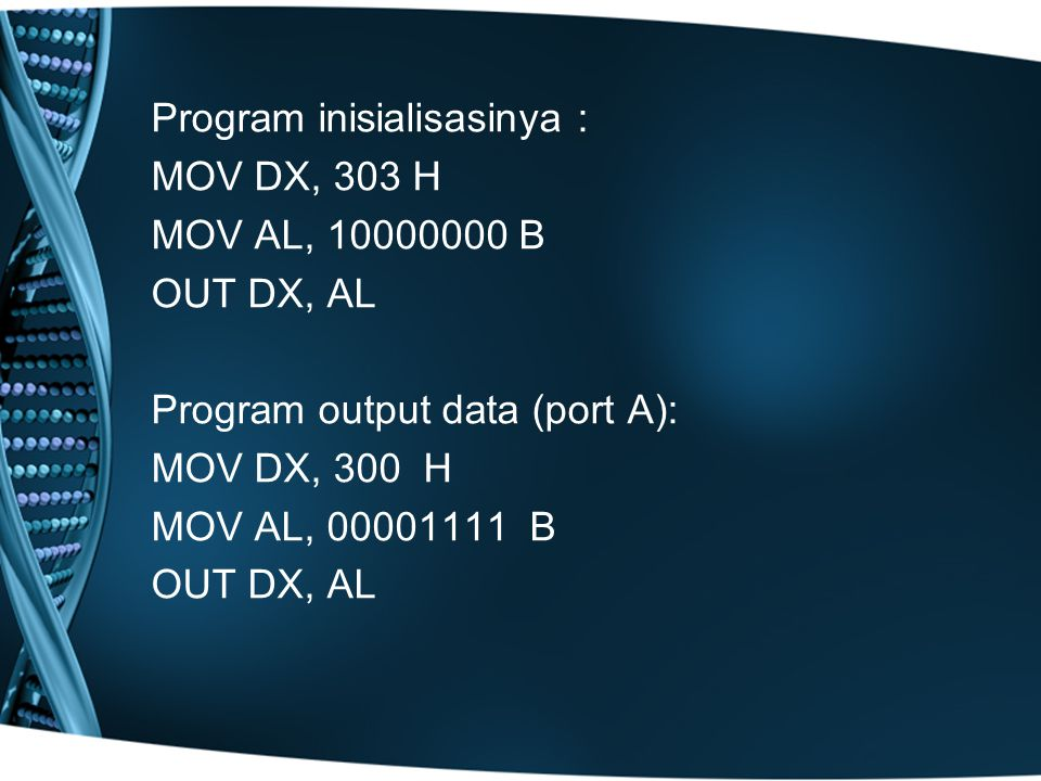 Program inisialisasinya :