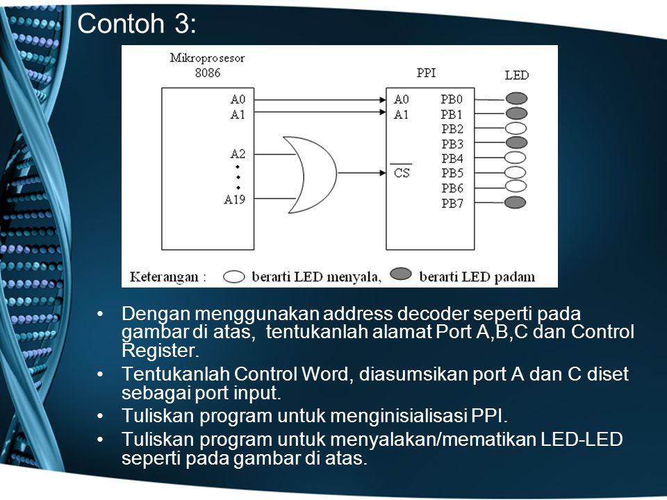 Contoh 3: Dengan menggunakan address decoder seperti pada gambar di atas, tentukanlah alamat Port A,B,C dan Control Register.