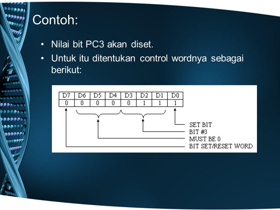 Contoh: Nilai bit PC3 akan diset.