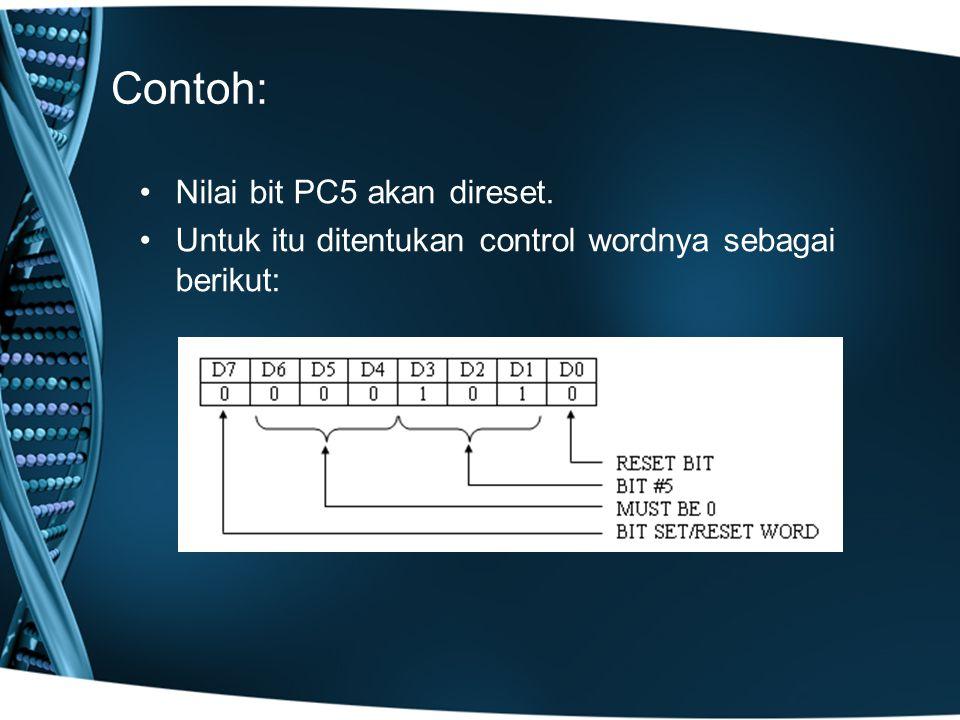 Contoh: Nilai bit PC5 akan direset.