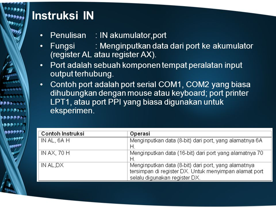 Instruksi IN Penulisan : IN akumulator,port