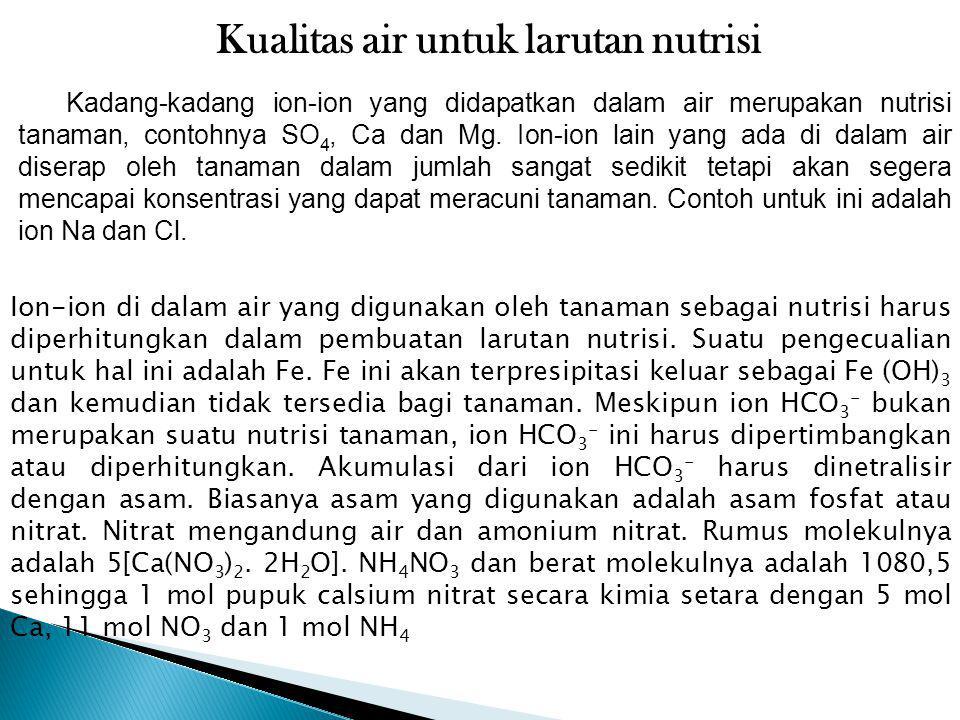 Kualitas air untuk larutan nutrisi