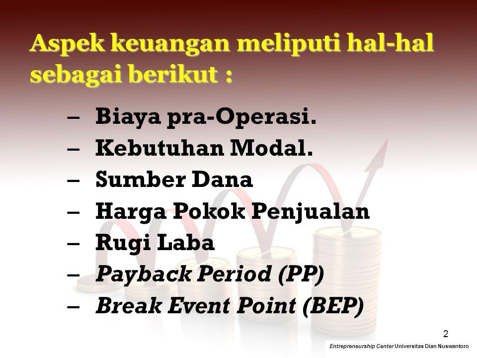 Aspek keuangan meliputi hal-hal sebagai berikut : Biaya pra-Operasi.