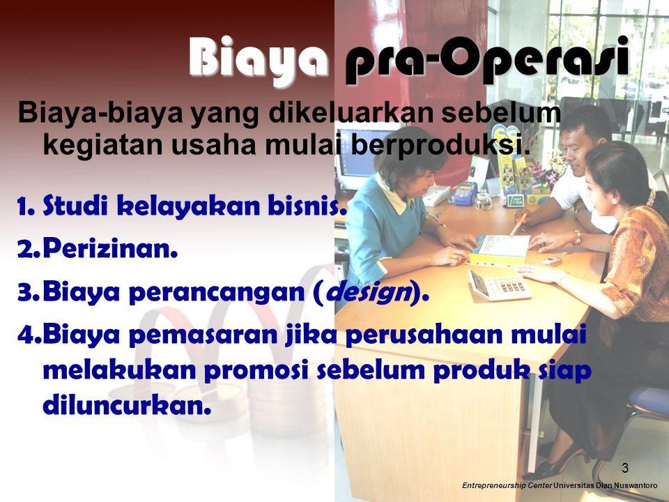 Biaya pra-Operasi Biaya-biaya yang dikeluarkan sebelum kegiatan usaha mulai berproduksi. Studi kelayakan bisnis.