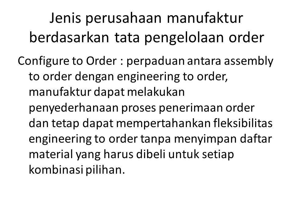 Jenis perusahaan manufaktur berdasarkan tata pengelolaan order