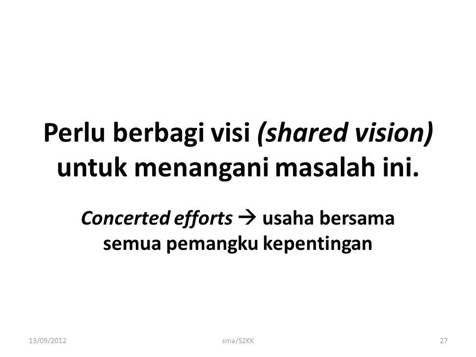 Perlu berbagi visi (shared vision) untuk menangani masalah ini.