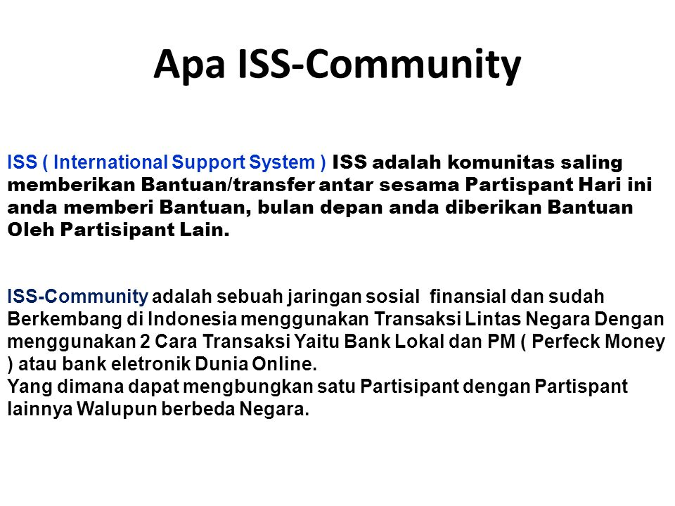 Apa ISS-Community ICM.