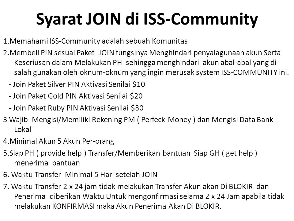 Syarat JOIN di ISS-Community