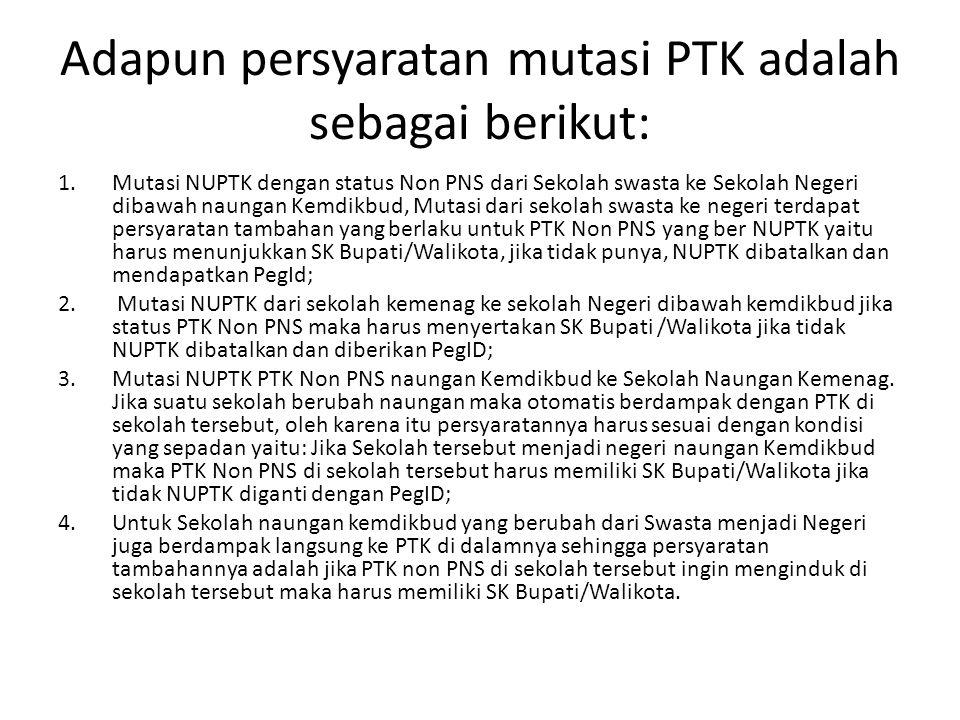 Adapun persyaratan mutasi PTK adalah sebagai berikut: