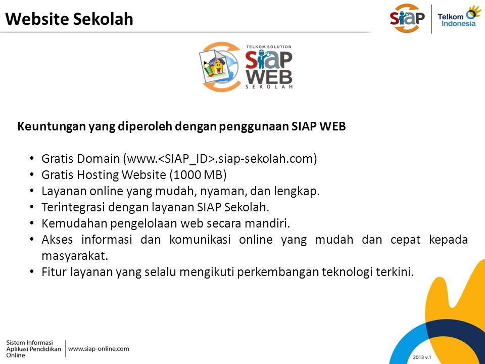 Website Sekolah Keuntungan yang diperoleh dengan penggunaan SIAP WEB