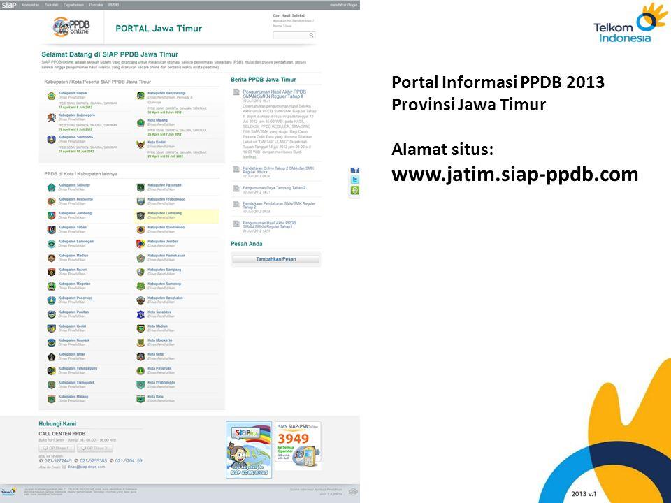 www.jatim.siap-ppdb.com Portal Informasi PPDB 2013 Provinsi Jawa Timur