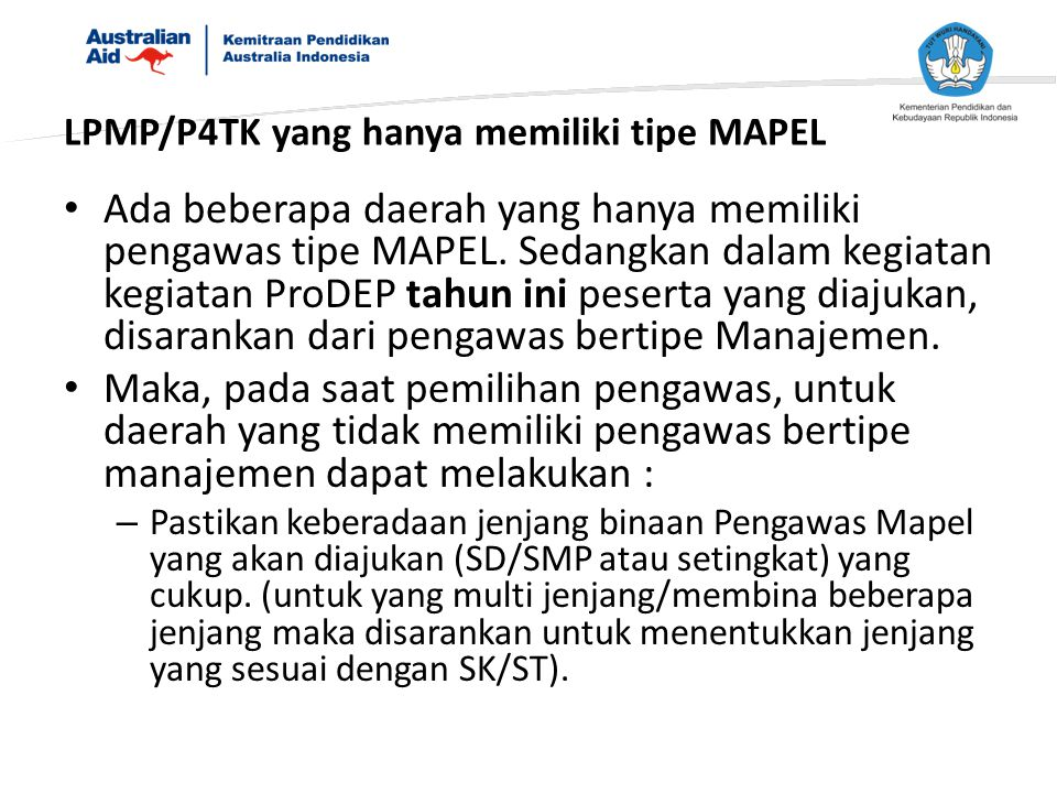 LPMP/P4TK yang hanya memiliki tipe MAPEL
