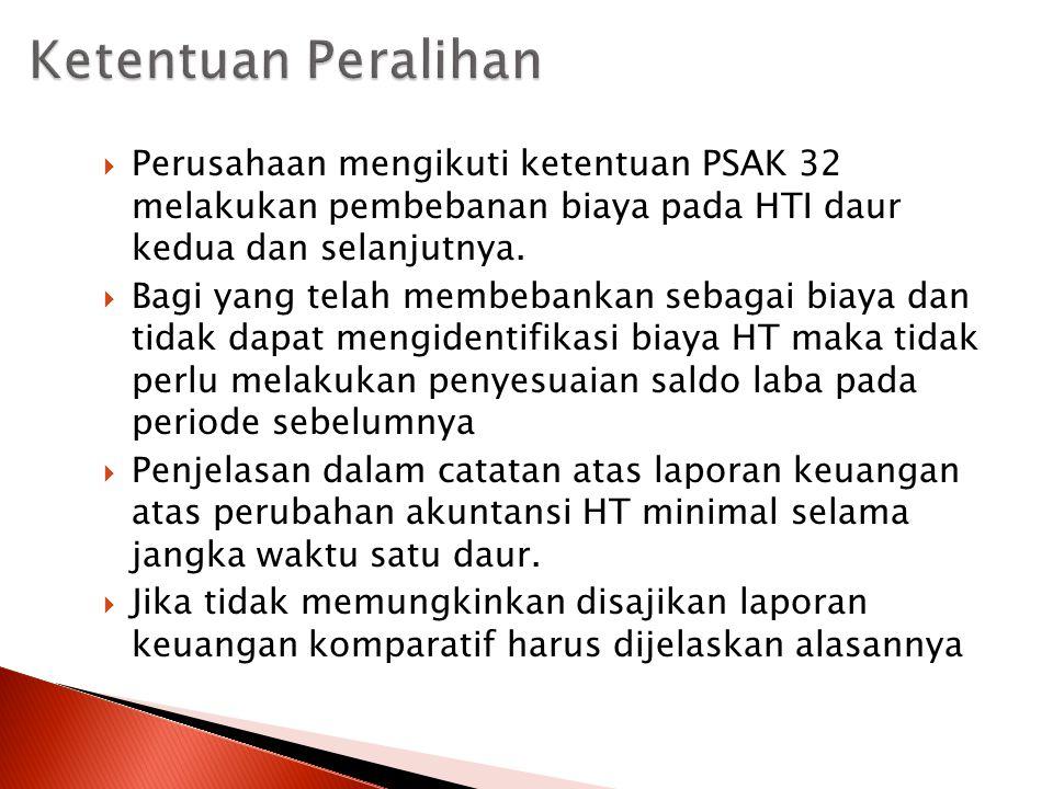 Ketentuan Peralihan Perusahaan mengikuti ketentuan PSAK 32 melakukan pembebanan biaya pada HTI daur kedua dan selanjutnya.