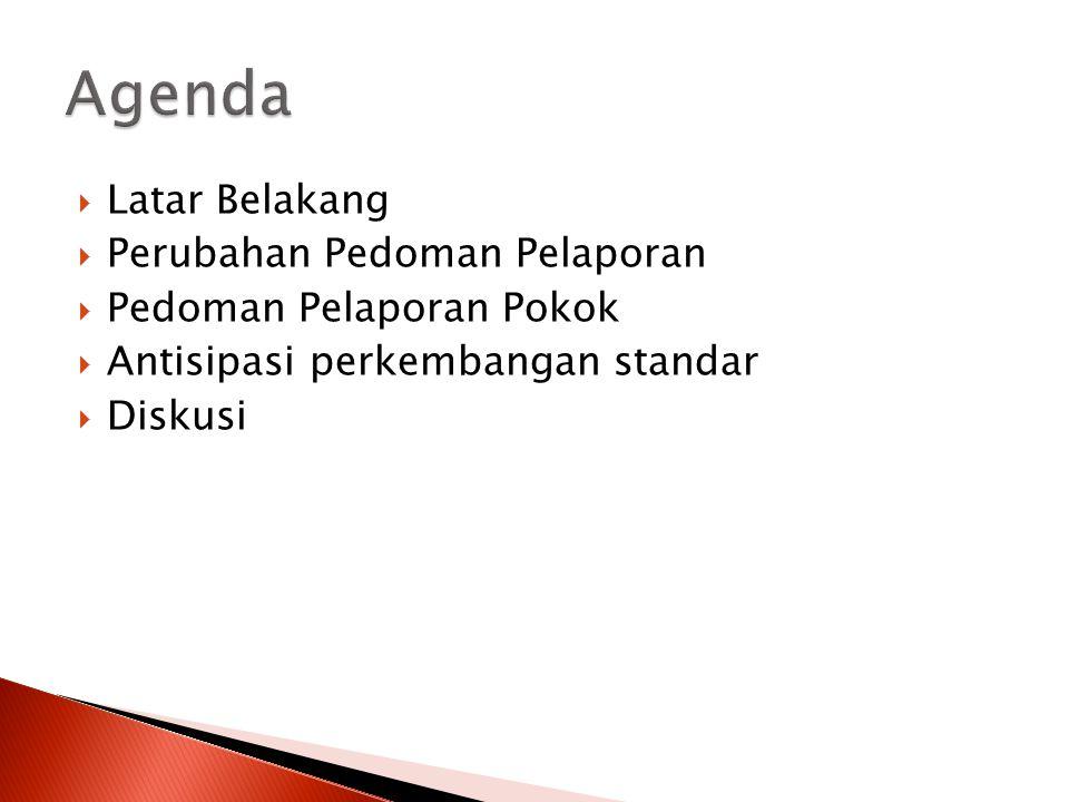Agenda Latar Belakang Perubahan Pedoman Pelaporan