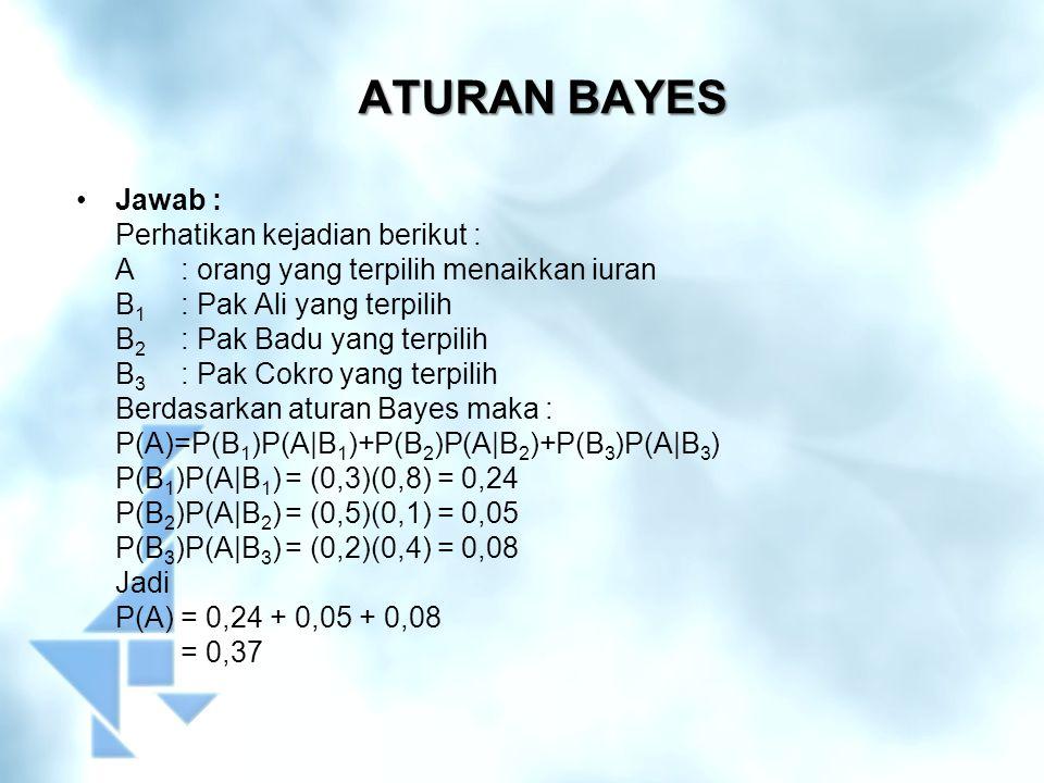 ATURAN BAYES Jawab : Perhatikan kejadian berikut :