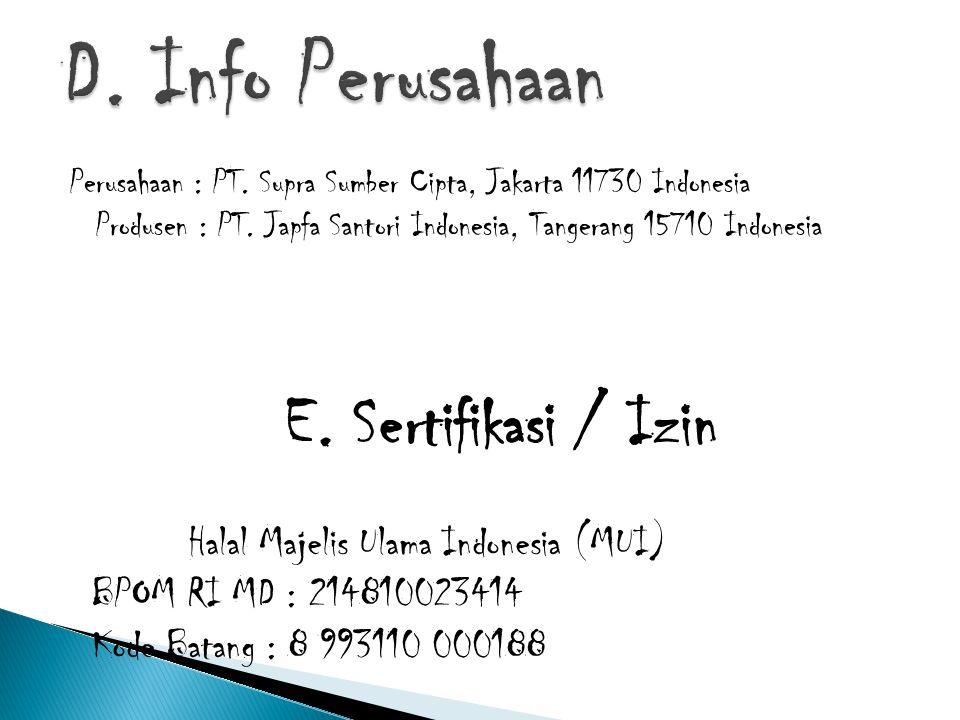 D. Info Perusahaan E. Sertifikasi / Izin