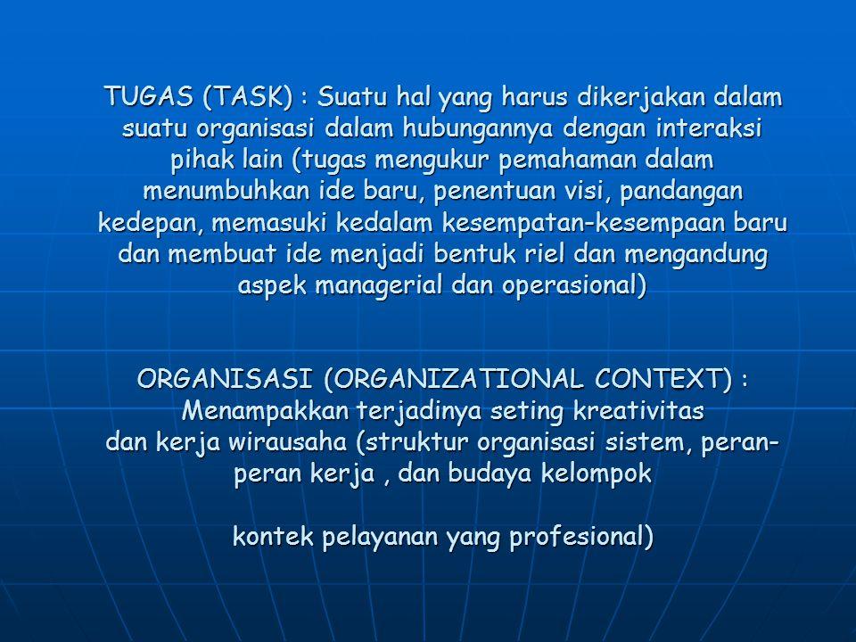 TUGAS (TASK) : Suatu hal yang harus dikerjakan dalam suatu organisasi dalam hubungannya dengan interaksi pihak lain (tugas mengukur pemahaman dalam menumbuhkan ide baru, penentuan visi, pandangan kedepan, memasuki kedalam kesempatan-kesempaan baru dan membuat ide menjadi bentuk riel dan mengandung aspek managerial dan operasional) ORGANISASI (ORGANIZATIONAL CONTEXT) : Menampakkan terjadinya seting kreativitas dan kerja wirausaha (struktur organisasi sistem, peran-peran kerja , dan budaya kelompok kontek pelayanan yang profesional)