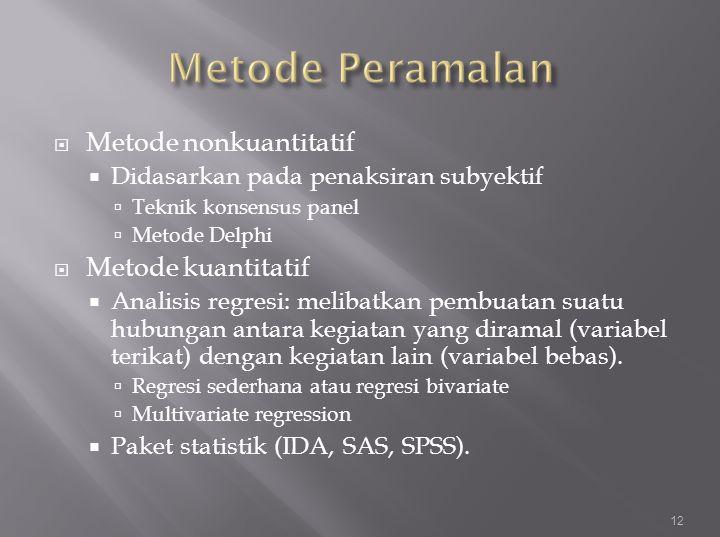 Metode Peramalan Metode nonkuantitatif Metode kuantitatif