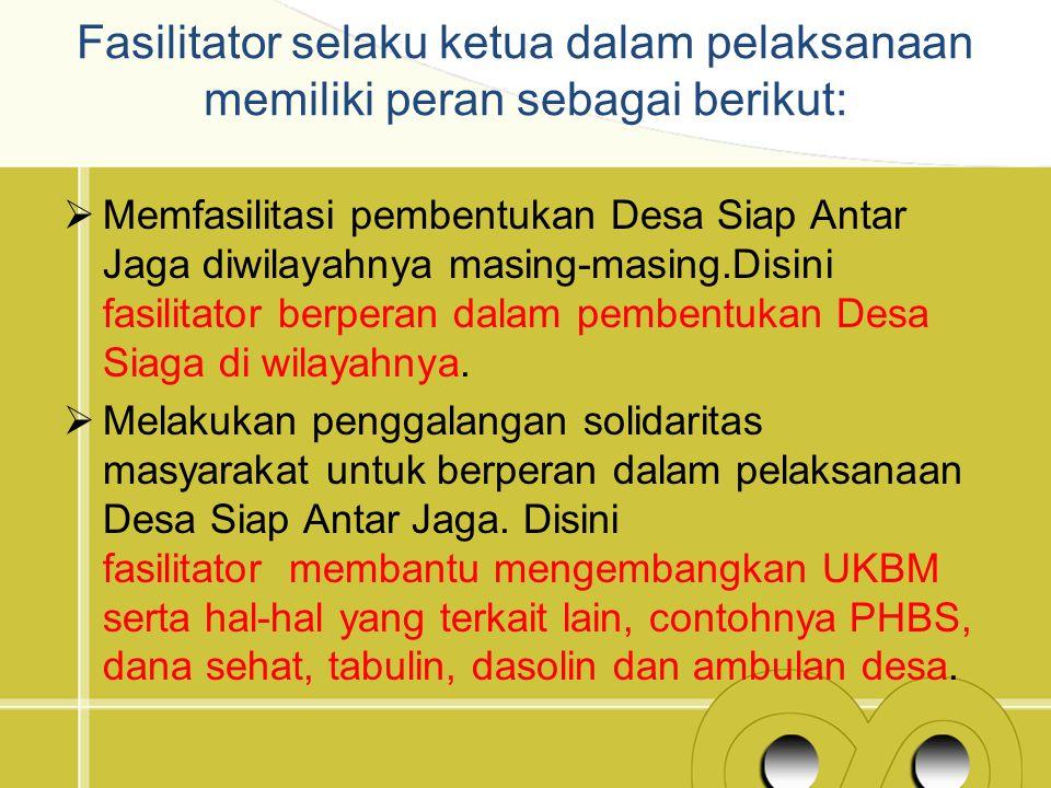 Fasilitator selaku ketua dalam pelaksanaan memiliki peran sebagai berikut: