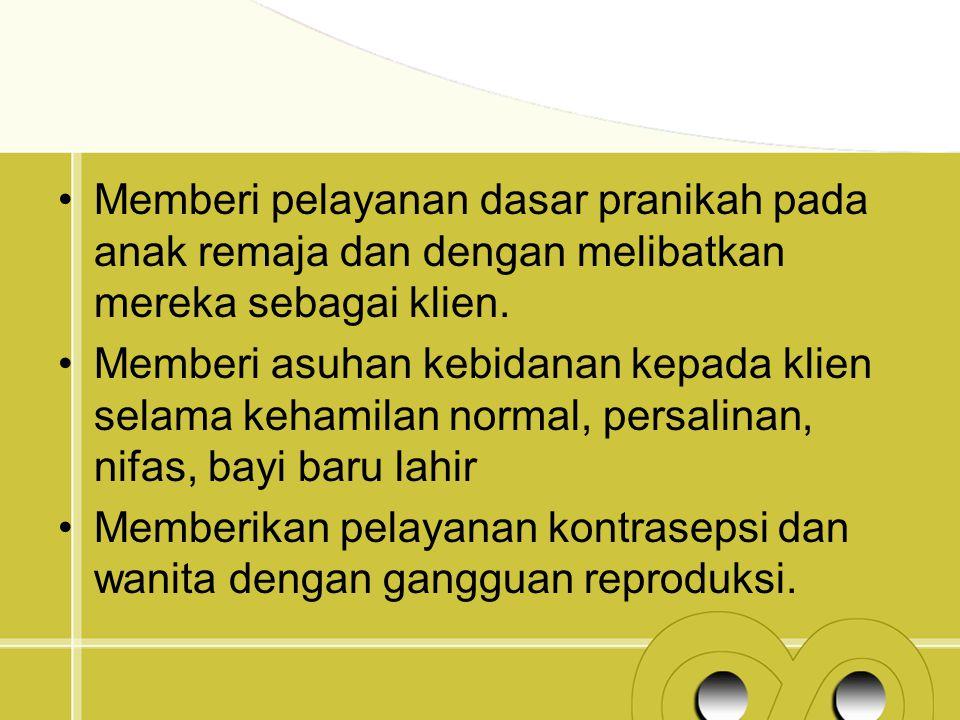 Memberi pelayanan dasar pranikah pada anak remaja dan dengan melibatkan mereka sebagai klien.