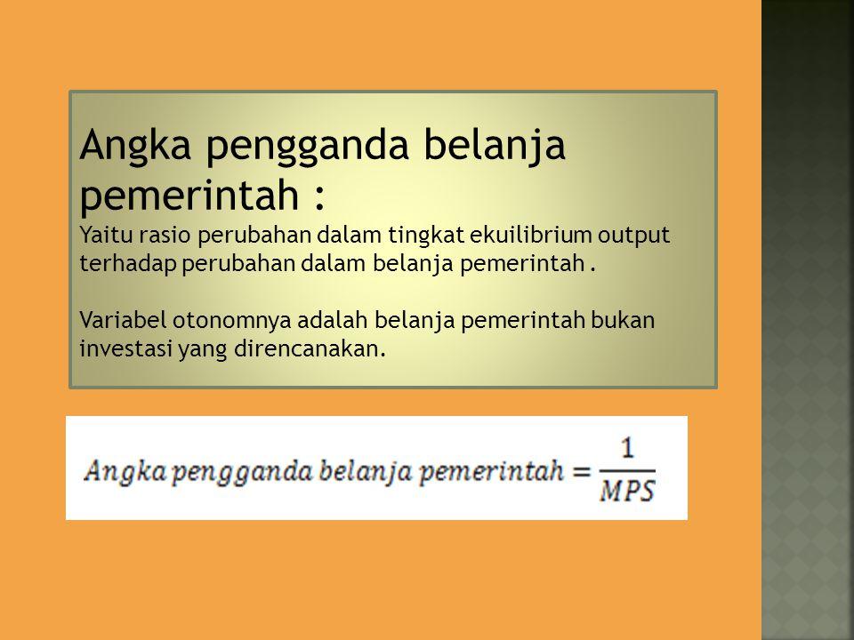 Angka pengganda belanja pemerintah :