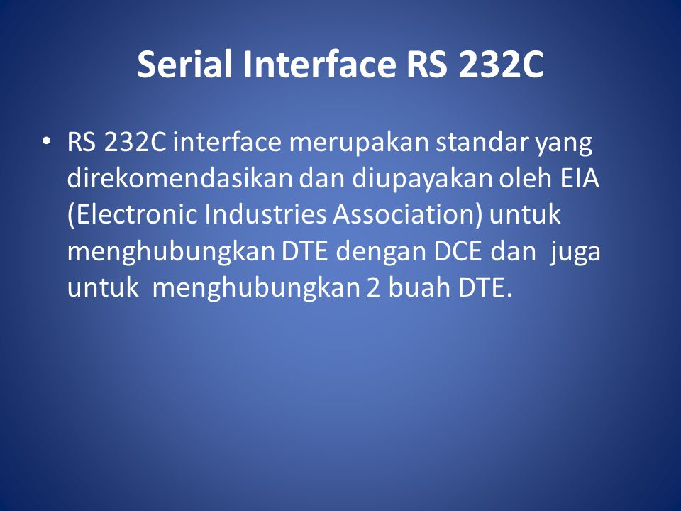 Serial Interface RS 232C