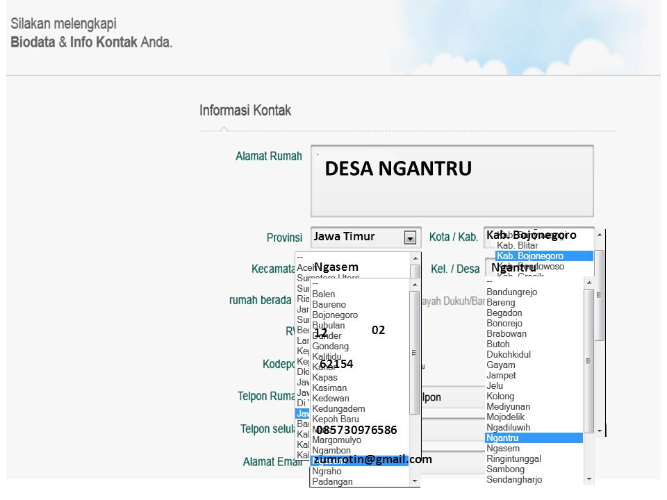 DESA NGANTRU Jawa Timur Kab. Bojonegoro Ngasem Ngantru 02 12 62154