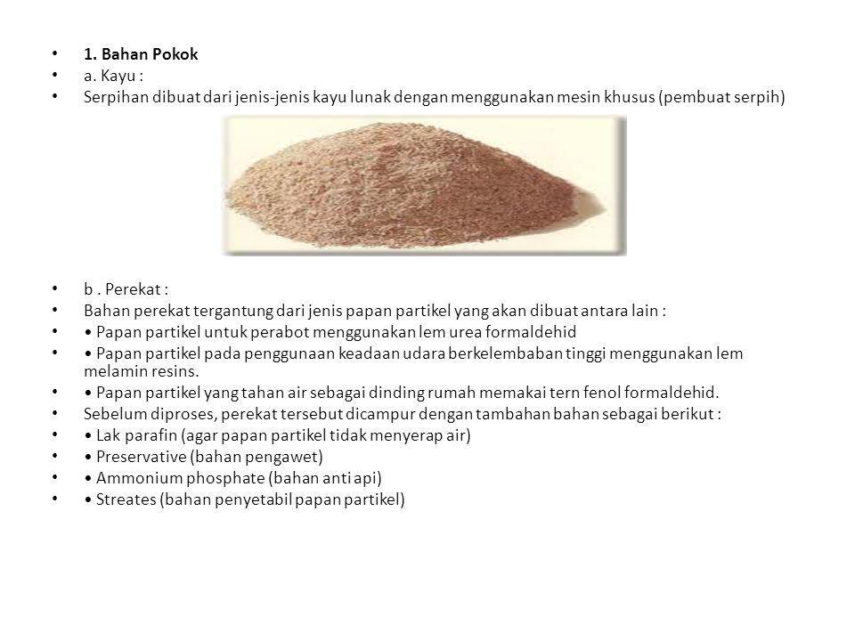 1. Bahan Pokok a. Kayu : Serpihan dibuat dari jenis-jenis kayu lunak dengan menggunakan mesin khusus (pembuat serpih)