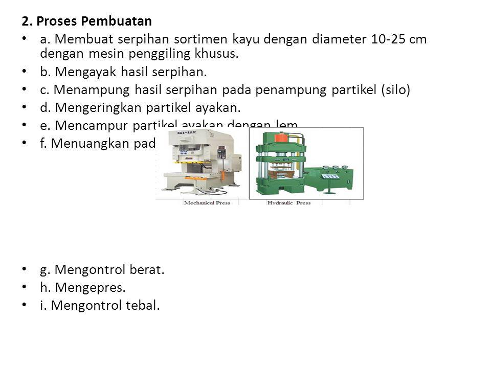 2. Proses Pembuatan a. Membuat serpihan sortimen kayu dengan diameter 10-25 cm dengan mesin penggiling khusus.