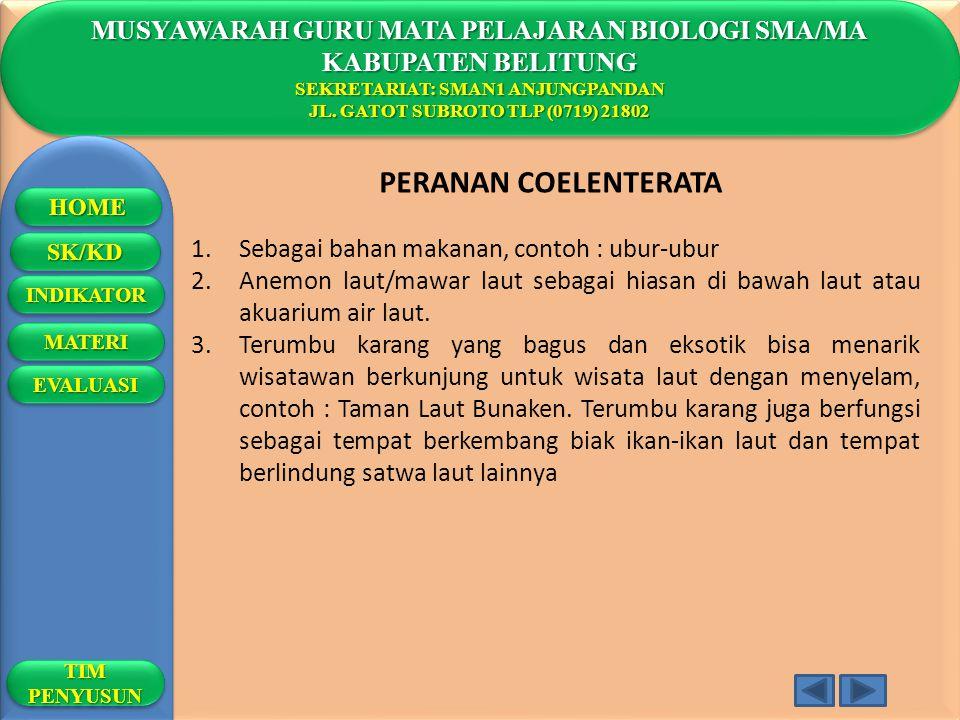 PERANAN COELENTERATA MUSYAWARAH GURU MATA PELAJARAN BIOLOGI SMA/MA