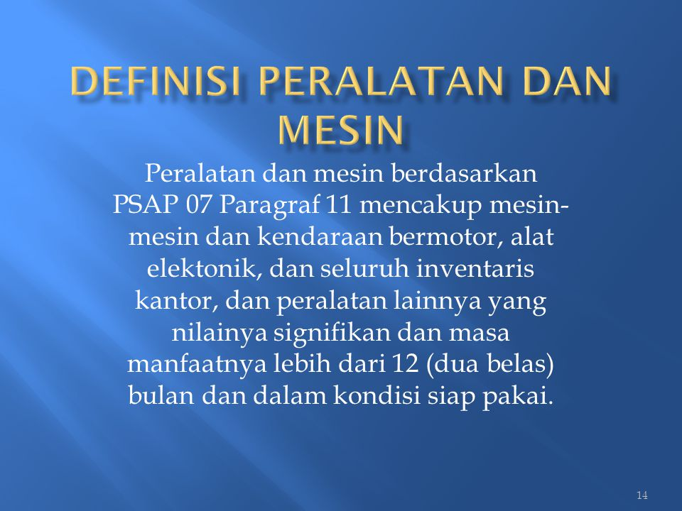 Definisi Peralatan dan Mesin